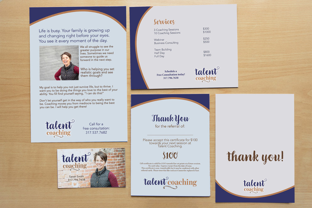 2. Print Marketing Design - Next we'll design the pieces that you choose: postcards, business cards, flyers, stationery, or workbooks will show off your business and connect you to your clients long after you have left the room.Timeline: Days 5-10