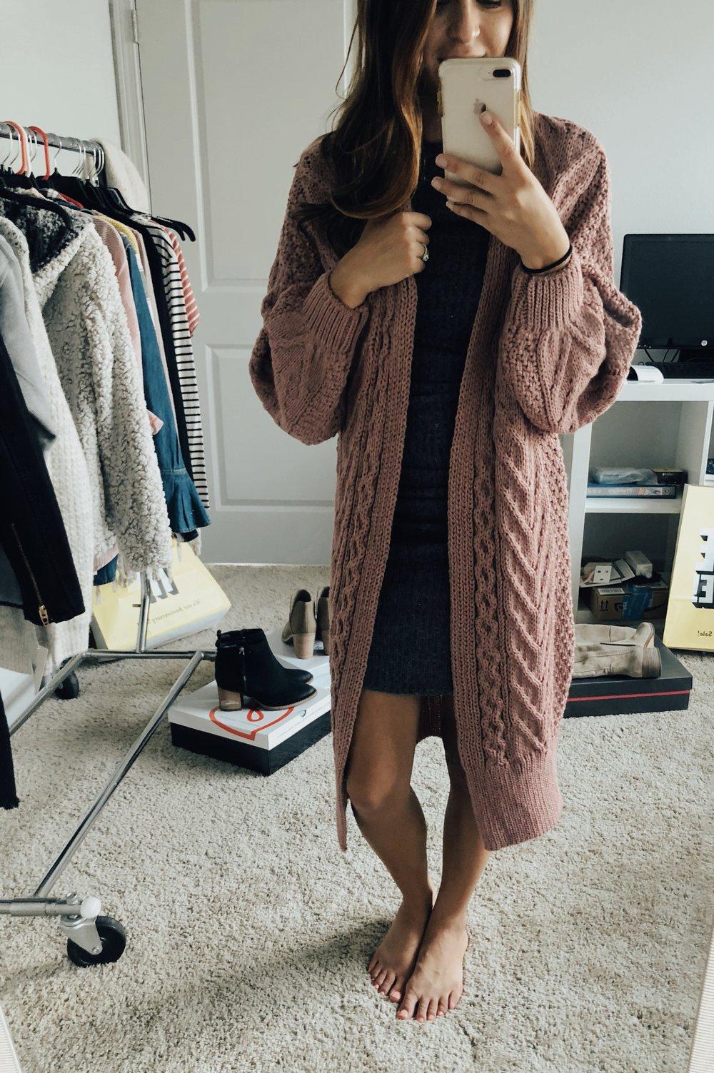 Top Shop Cardigan  //  BP Ribbed Body Con Dress