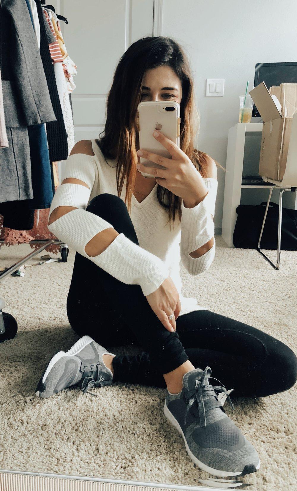 1.State Sweater  //  Zella Leggings  //  Adidas Sneakers