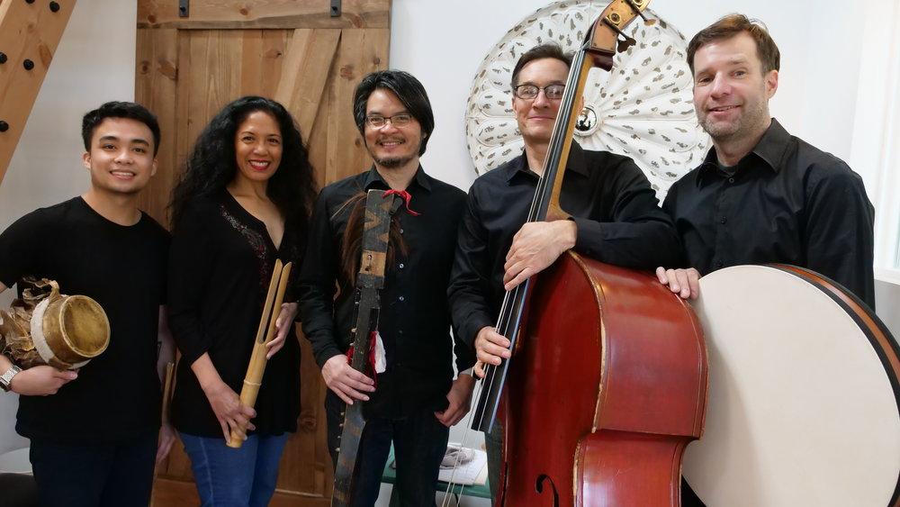Florante Aguilar (center) and his Utom Ensemble (left to right): Nick Galang, Caroline Cabading-Canlas, Greg Kehret, and Sage Baggot