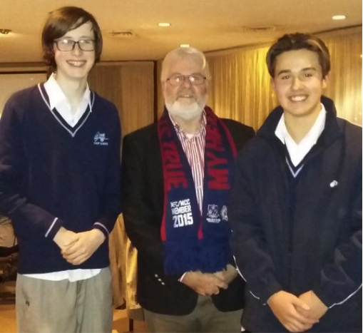 Rotarian David Cross with Zac and Thomas from Mount Erin Secondary College.