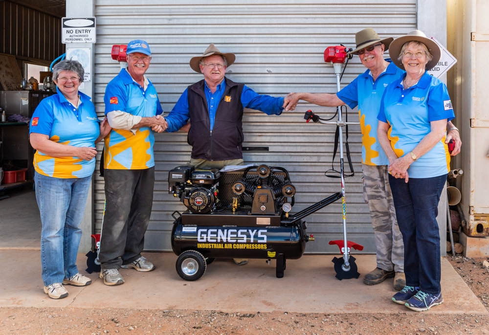 In 2018 we also donated 2 brush cutters and an air compressor to help with the fencing of Arid recovery.