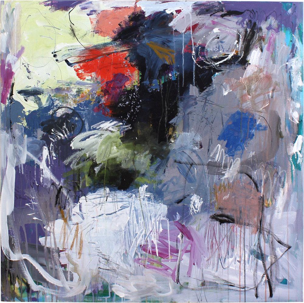 "'Deeper' 36x36"" mixed media original painting by Lesley Grainger."