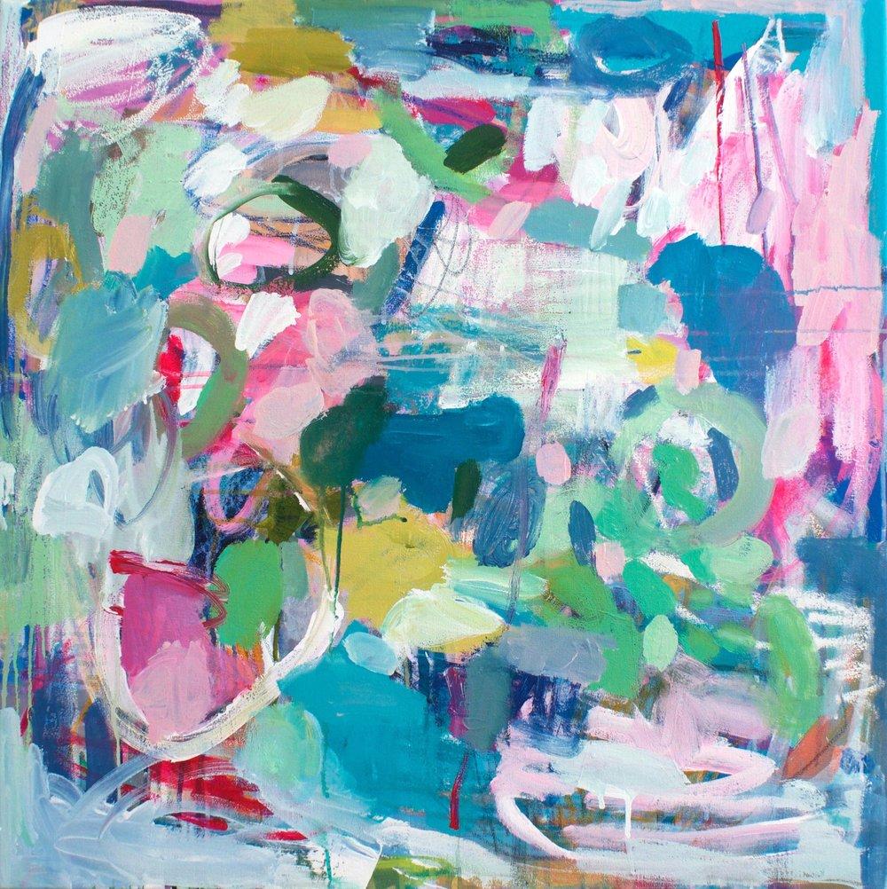 "'Rising"" 30x30"" mixed media original painting by Lesley Grainger."