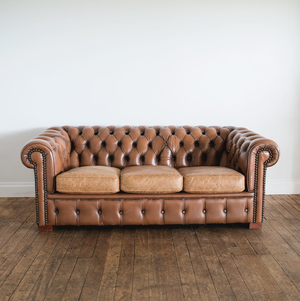 Tan Leather Chesterfield | $150ea | Qty 1