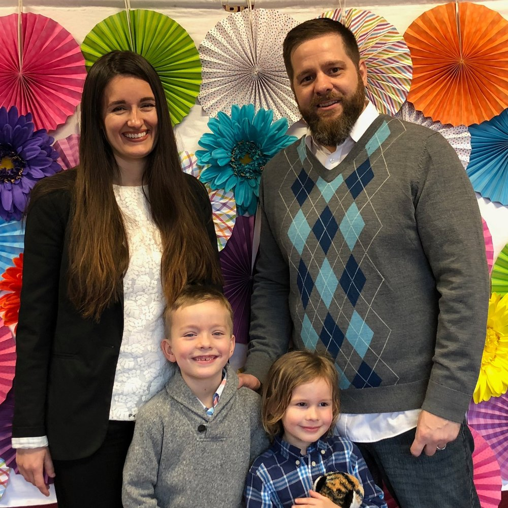 Our lead pastors, Sarah and Josh, and their family