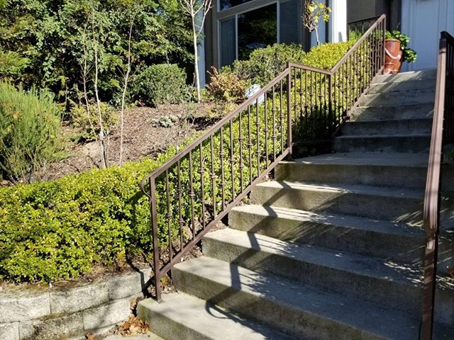 We finally got a railing with a bit of a different color. Not everyone knows this, but if you want a gate, fence, railing or other projects in a color other than black it can be done! All you have to do is ask about what option we have.  #ornamentaliron #ironworks #sacramentohomes #homeowners #homeowner #newhome #newhomesacramento #sacraamentohouses