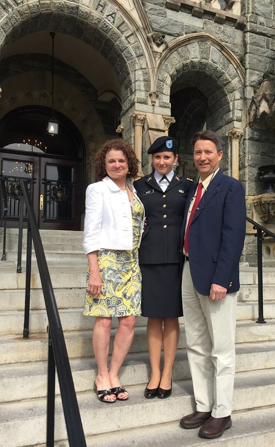 Outside the Chapel at Georgetown University where Lauren and her fellow ROTC members were commissioned as Officers in the U.S. Army. Lauren delivered the benediction at the ceremony.