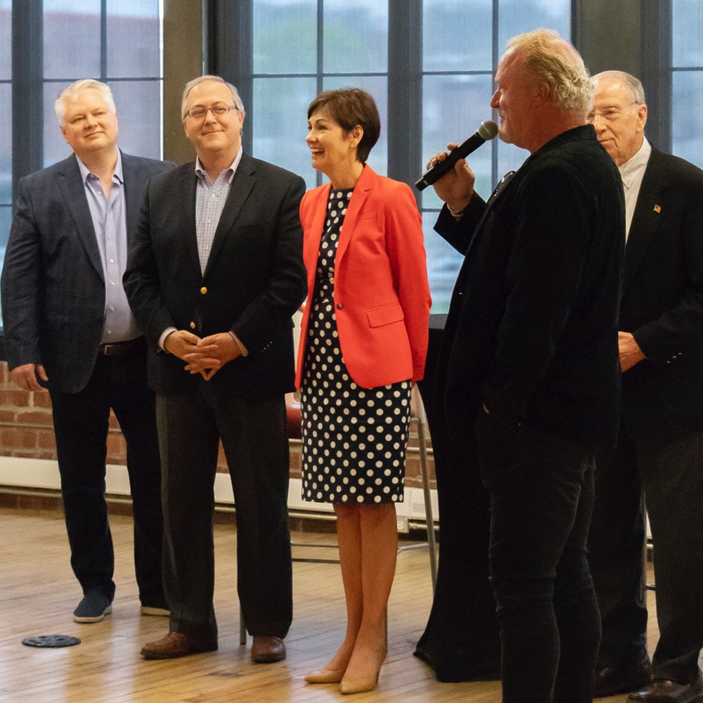 Linc Kroeger, Congressman David Young, Governor Kim Reynolds, Pillar Technology CEO Bob Myers, and Senator Chuck Grassley at The Forge