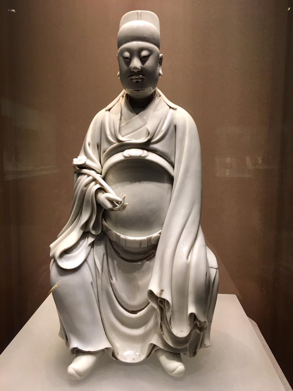 God of literature, Ming Dynasty, glazed white porcelain