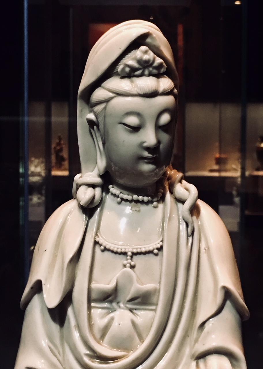 Guan yin, Goddess of mercy, Min Dynasty, glazed white porcelain