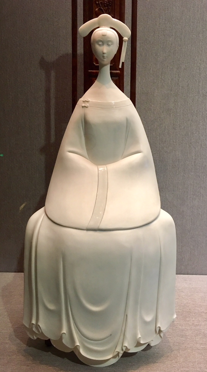 Seated lady, contemporary, white porcelain