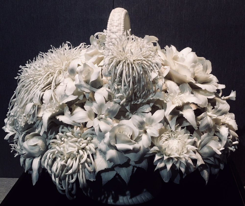 A bouquet of flowers, white porcelain, contemporary