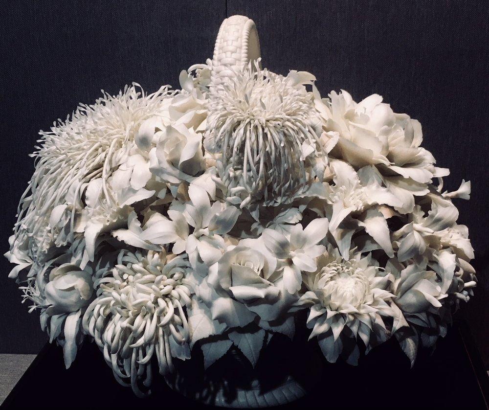 A bouquet of flowers, white porcelain, contemporary