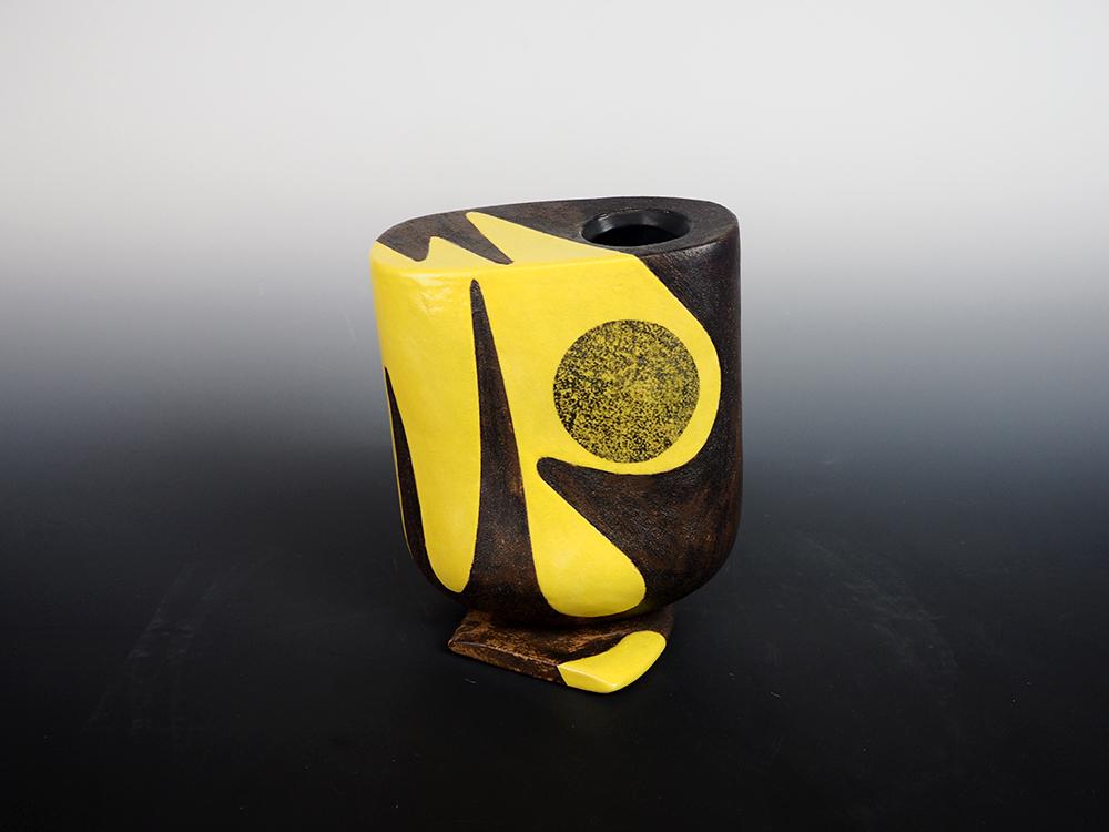 YANAGIHARA Mutsuo Yellow Oribe Flower Vase 1.jpg