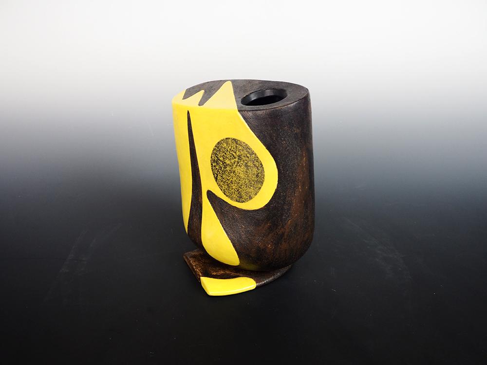 YANAGIHARA Mutsuo Yellow Oribe Flower Vase 3.jpg