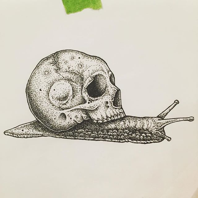 Lil old guy . . #drawing #illustration #penandink #artwork #skull #pointillism #art