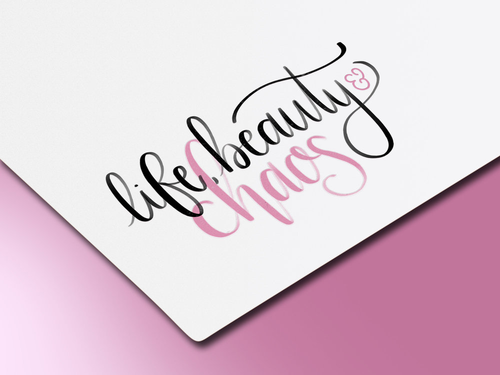 life, beauty & chaos lifestyle blog - Hand-lettered logo designed with an Apple Pencil on an iPad Pro.