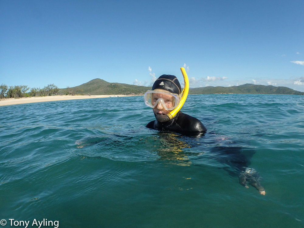 Avril snorkelling on the damaged northern fringing reef.