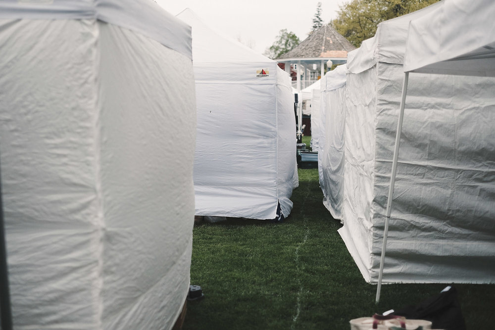Sidewalls on all the tents.