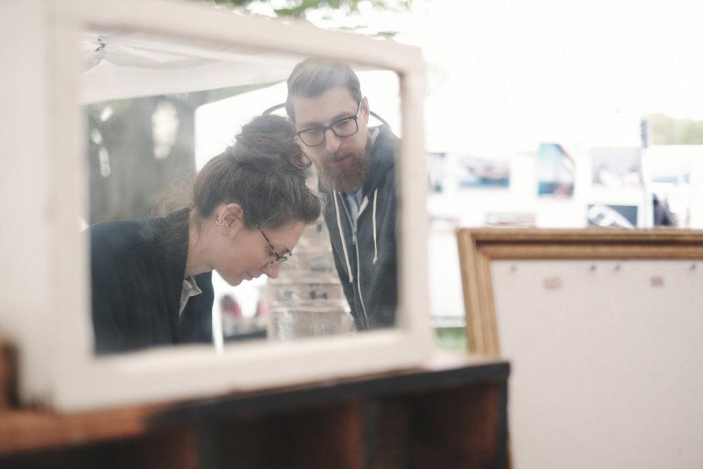 Caroline and Luke setting up the  c.e golden  booth