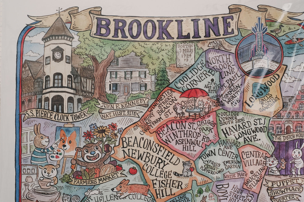 Here we are in Brookline! Map by  Sepia Lepus