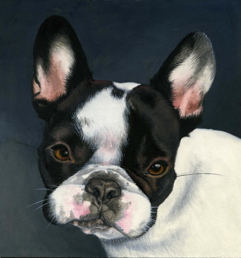 Leah's portrait of Henry as a puppy. Gouache on acid-free mat board. Image courtesy of artist.