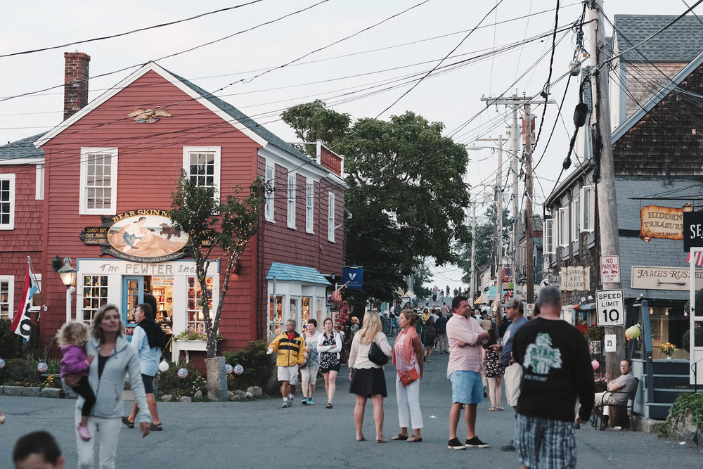 Bearskin Neck on a typical summer evening.