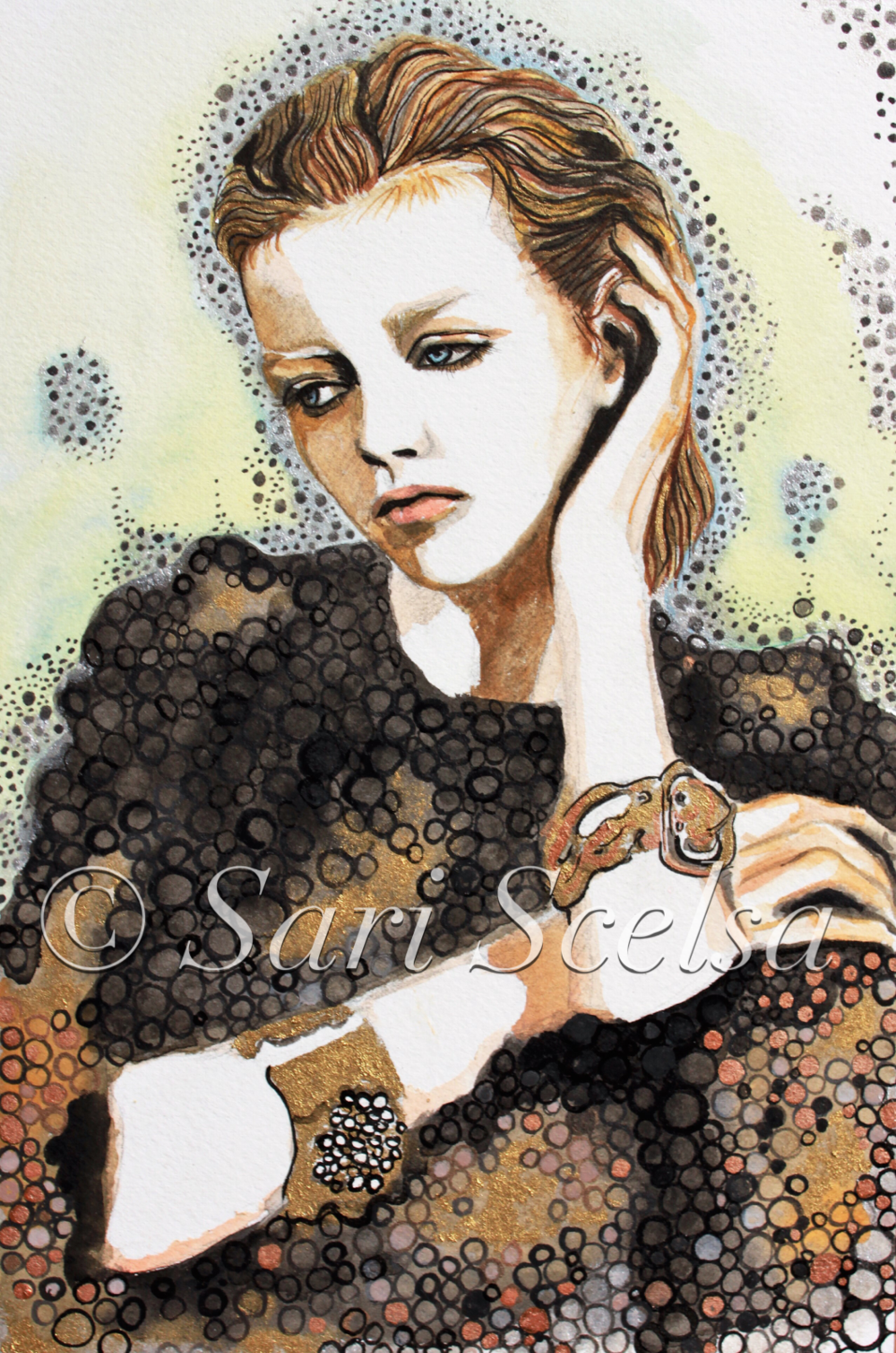 """Ti Penso"" - I Think of You - Watercolour with gold and black ink - Original Sold but Prints available. check out Prints for Sale section for more infohttps://sariscelsa.com/prints-for-sale/"