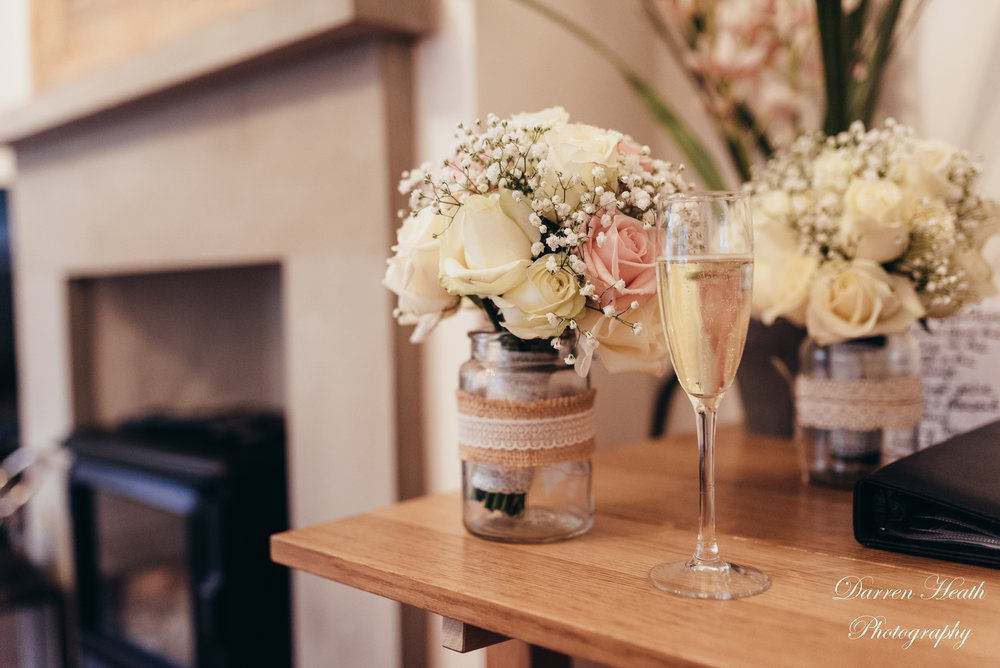 Wedding bouquet and a Glass of Prosecco