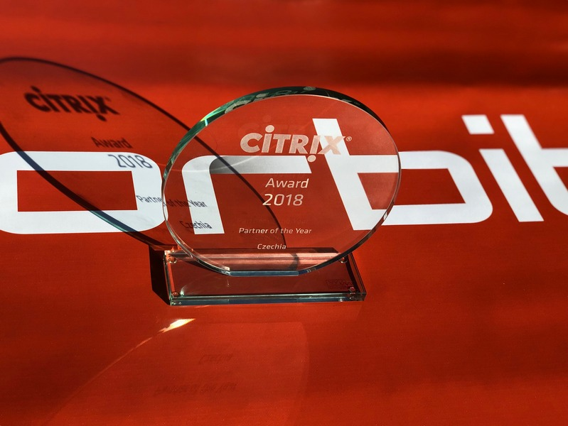 Cena pro českého partnera Citrix za rok 2018 pro společnost Orbit