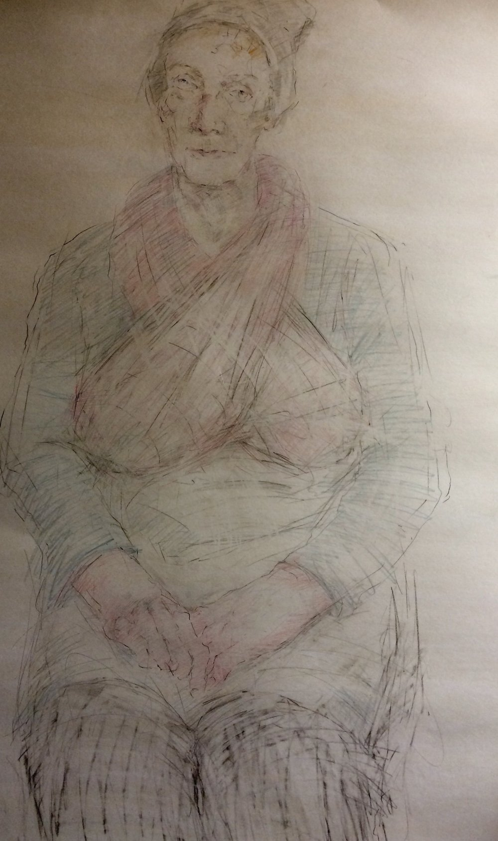 SPA 2017 Exhibition, Mary as Mrs Docherty, associate of Burke and Hare   81 x 109 cm Pencil and coloured pencil on paper £1,500 All rights reserved