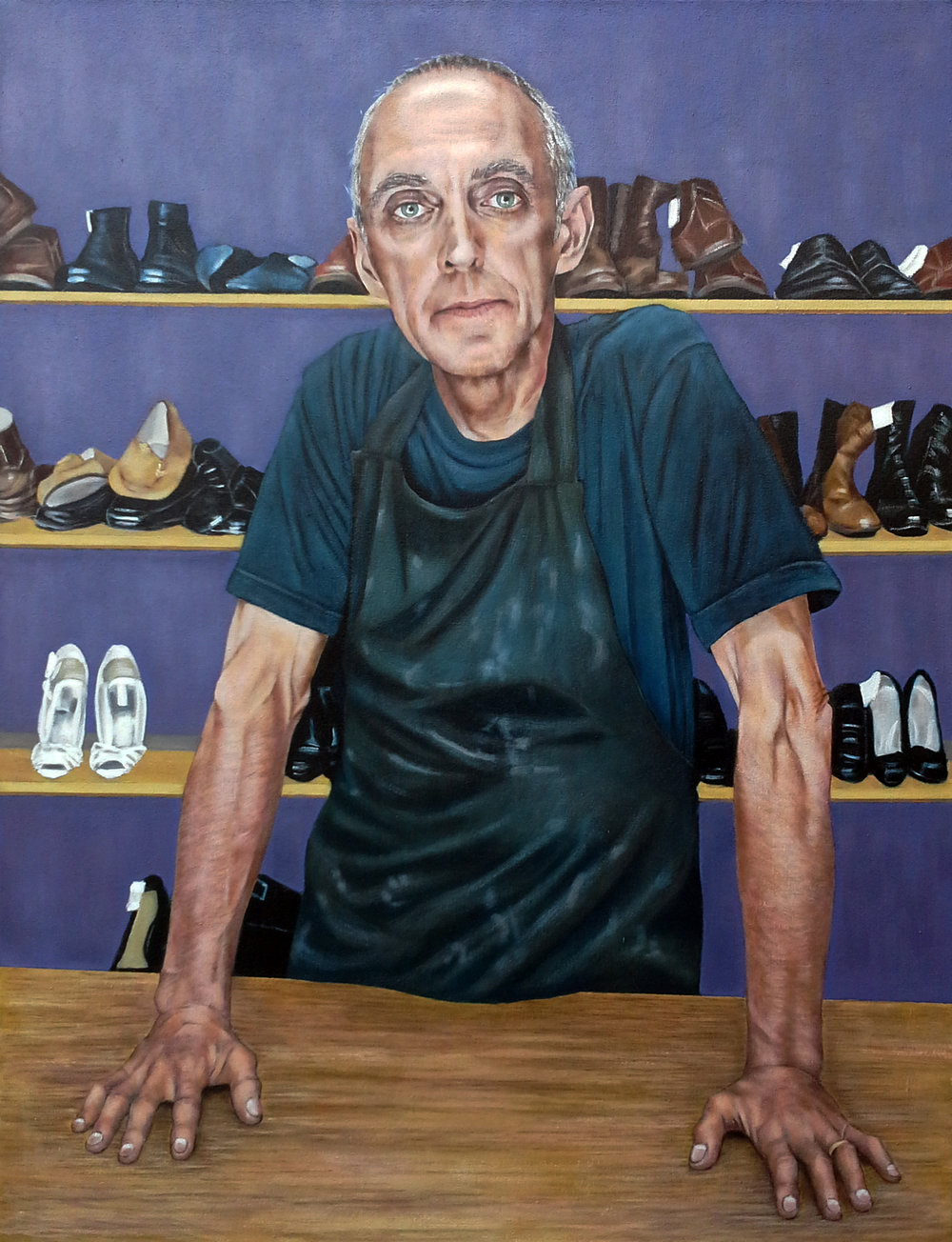 2017 SPA Exhibition The Shoemaker  80 x 104 cm (framed)  Oil on canvas  Not for sale