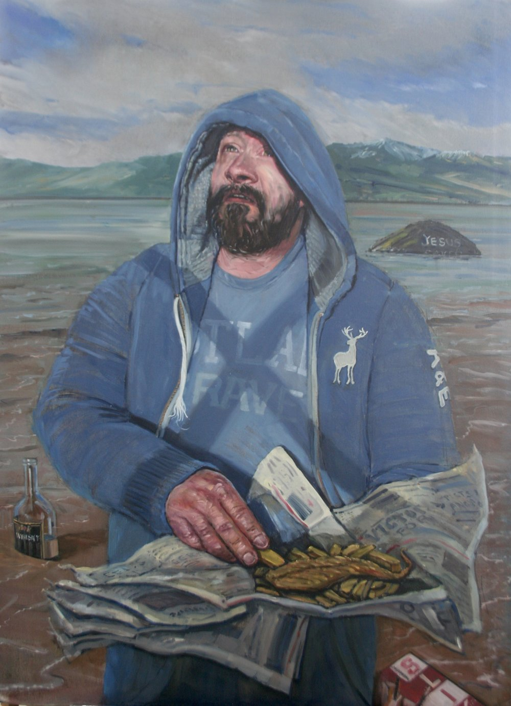SPA 2017 Exhibition Big Eddy as St. Andrew,  105 x 140 cm (framed), Oil on canvas board, £2,500