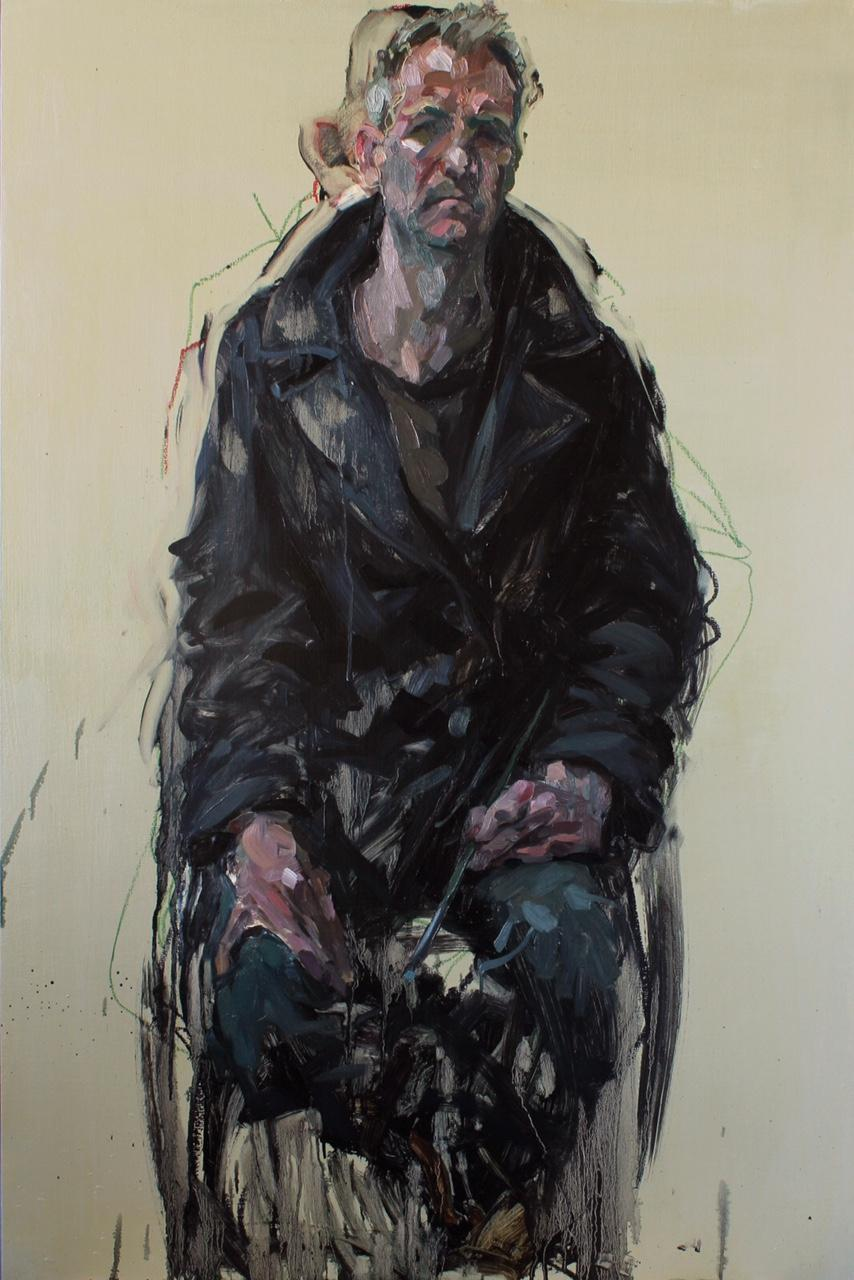 Self portrait, 2014, oil on panel, 120 x 80 cms