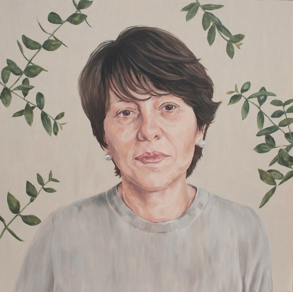 By the Olive Tree,72cm x 72cm, Oil on board,2017,Private Collection