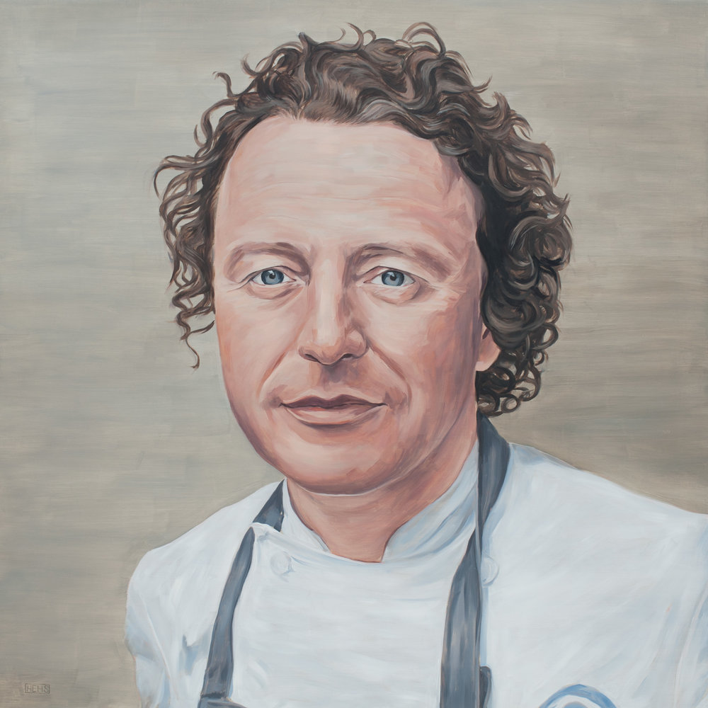 Tom Kitchin 72cm x 72cm  Oil on board  2017  Private Collection