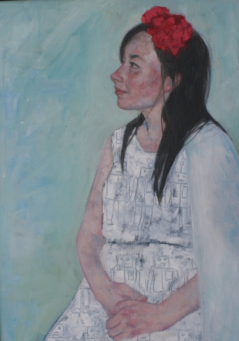 Girl in Profile with Robot Dress (Ode to Gwen John)