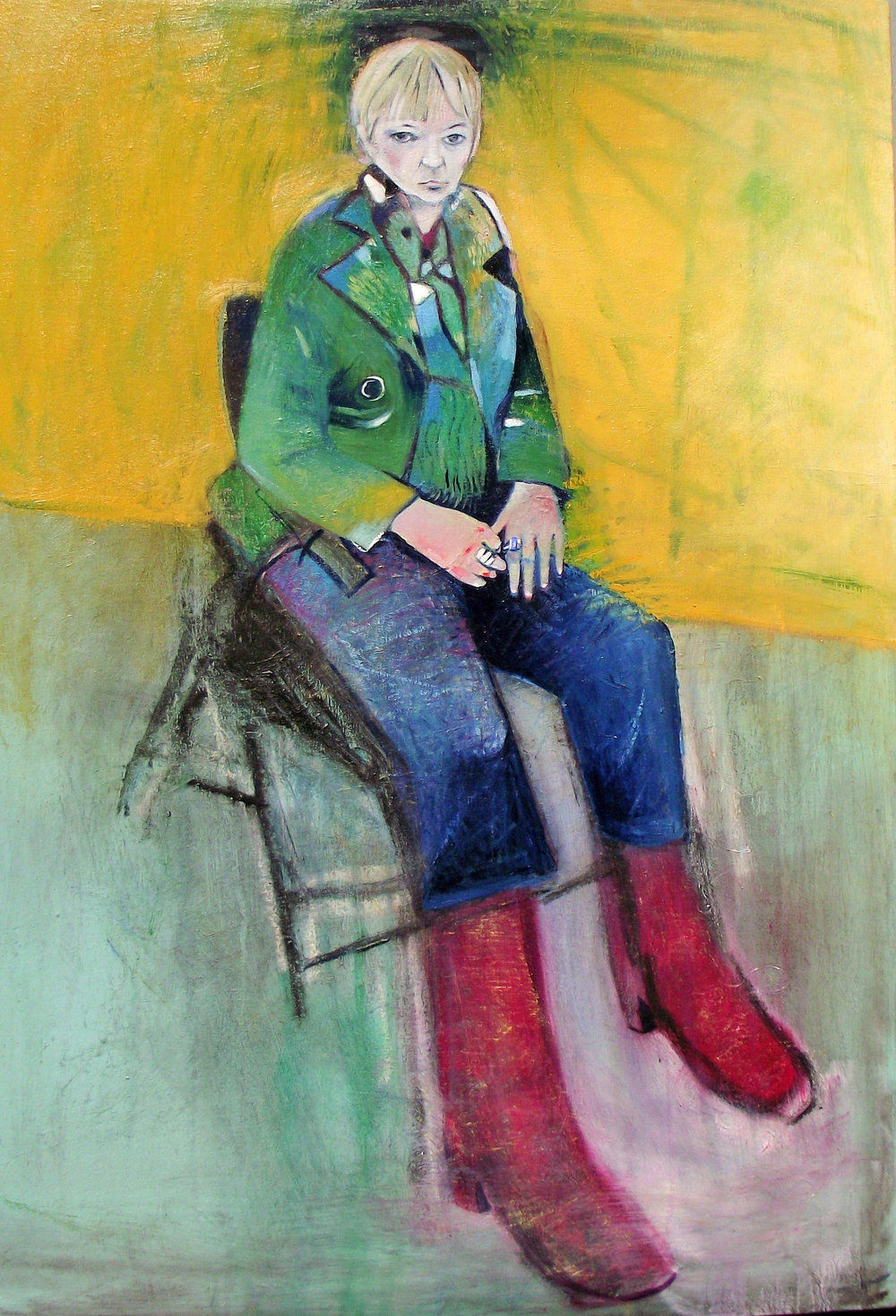 SPA 2017 Exhibition, Green Jacket,  66 x 96 cm, Oil bar/oil on canvas, £2,100