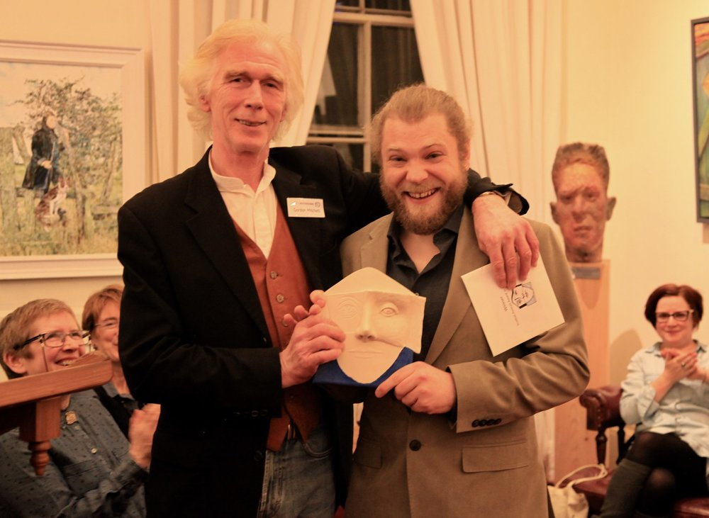 Dan Murray, left, receives his SPA 2018 Fine Art awards from SPA Director Gordon Mitchell