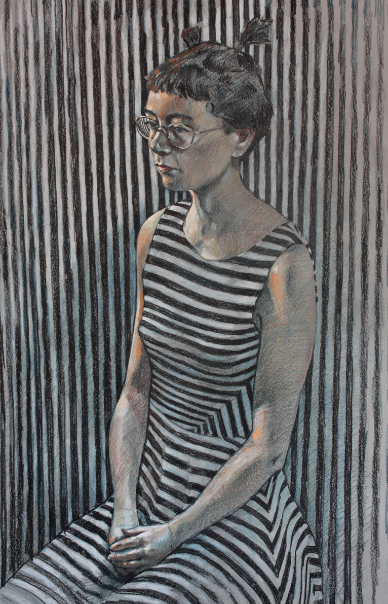 SPA 2018, Bryan Evans Becky in Stripes Pencils/card 94 x 65 cm, £2950 All rights reserved
