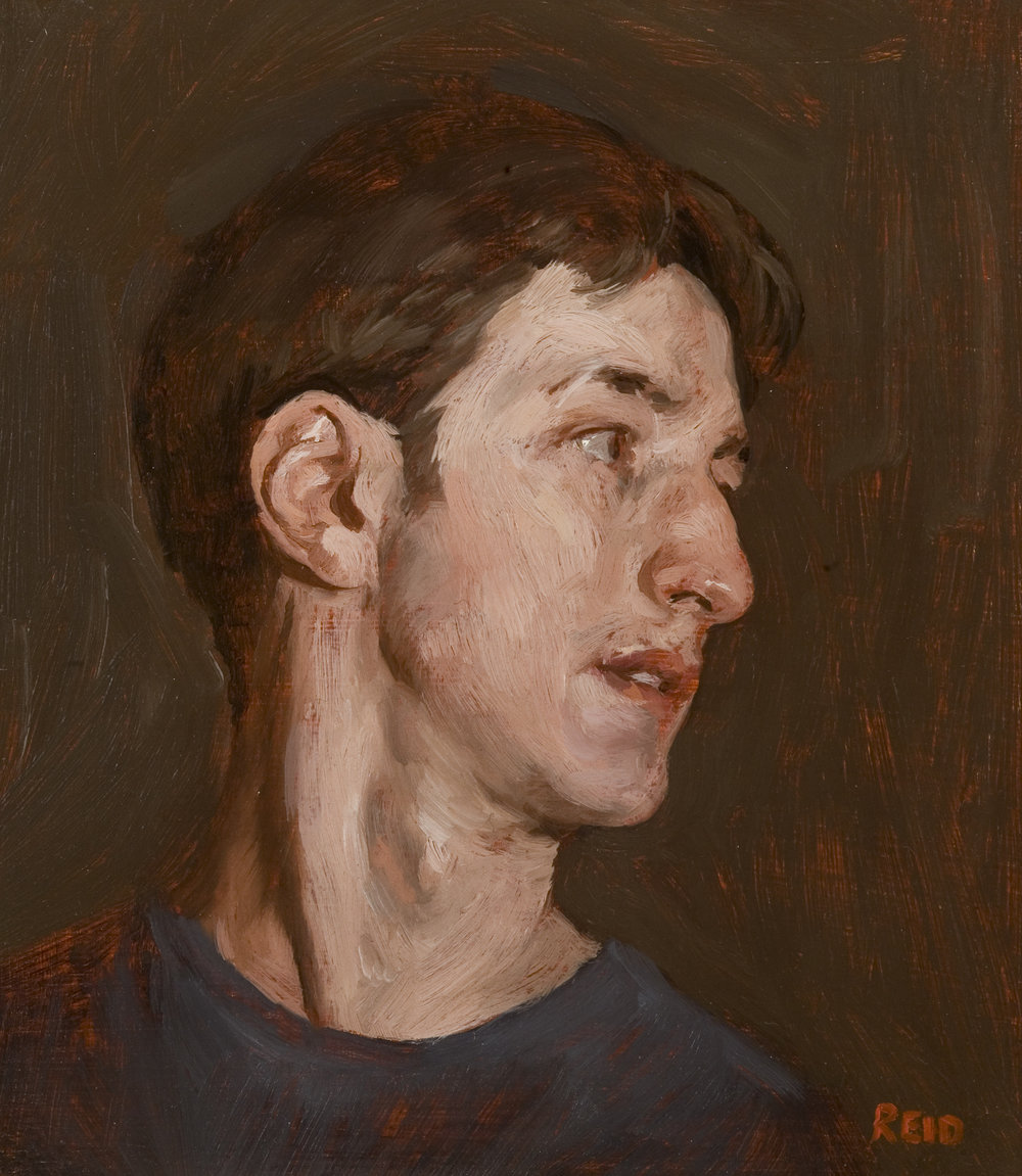 Self Portrait, 2002, Oil on Board, 20 x 28 cm