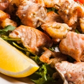 Salmon and Prawn Skewers -