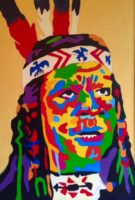 Anthony Caruso as Chief Winnemucca 24x36   Acrylic On Canvas