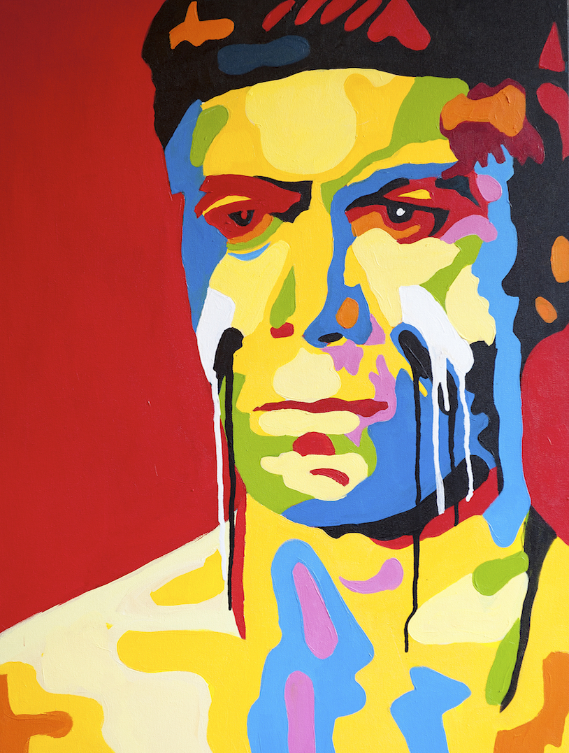 William Shatner in White Comanche 24x36 Acrylic On Canvas