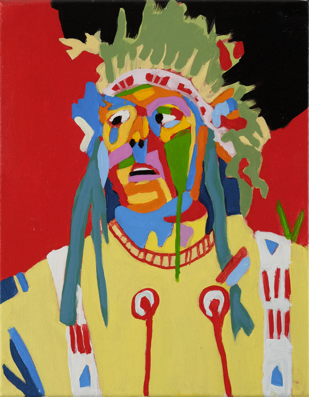 Desi Arnaz in the Hollywood Plains Indian Kit   12x10 inches Acrylic on canvas