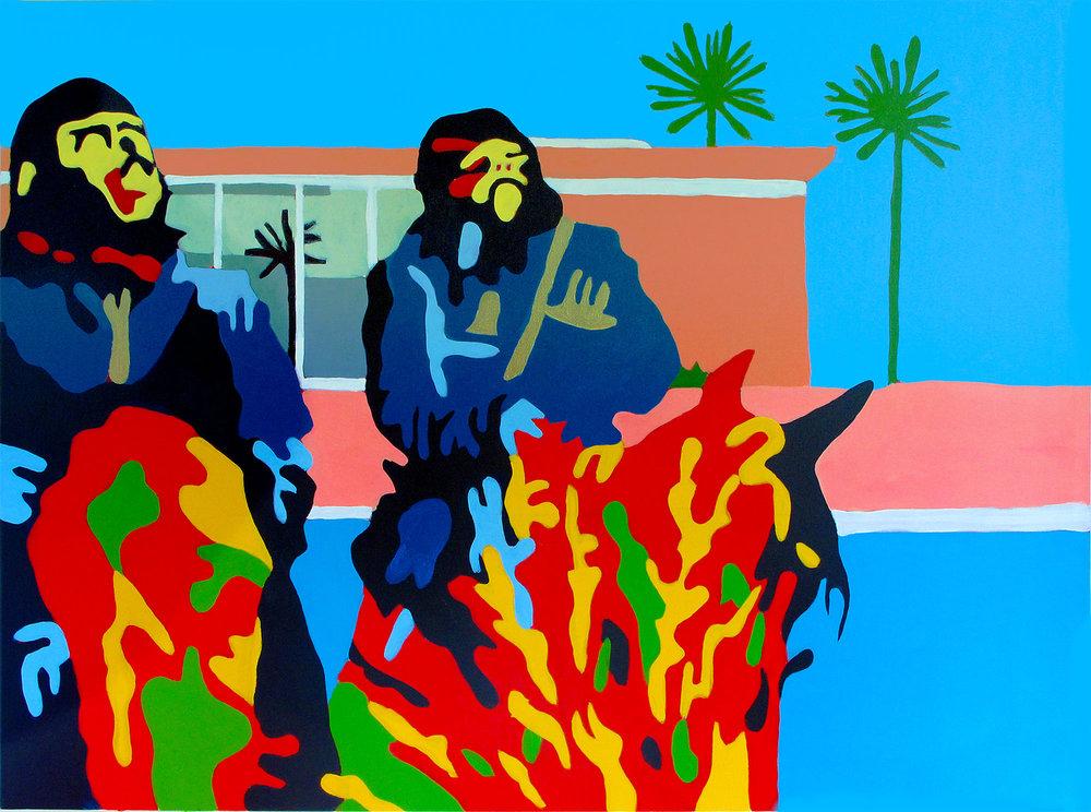 Gorillas At The Big Splash 30x40 Acrylic On Canvas