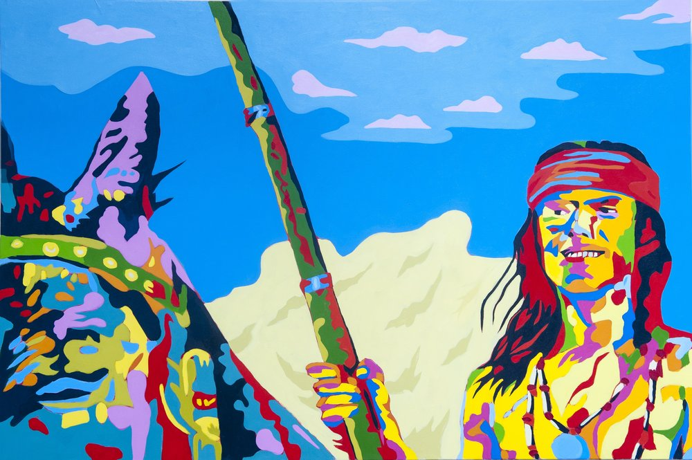 Apache Boy   48x72 inches Acrylic on canvas