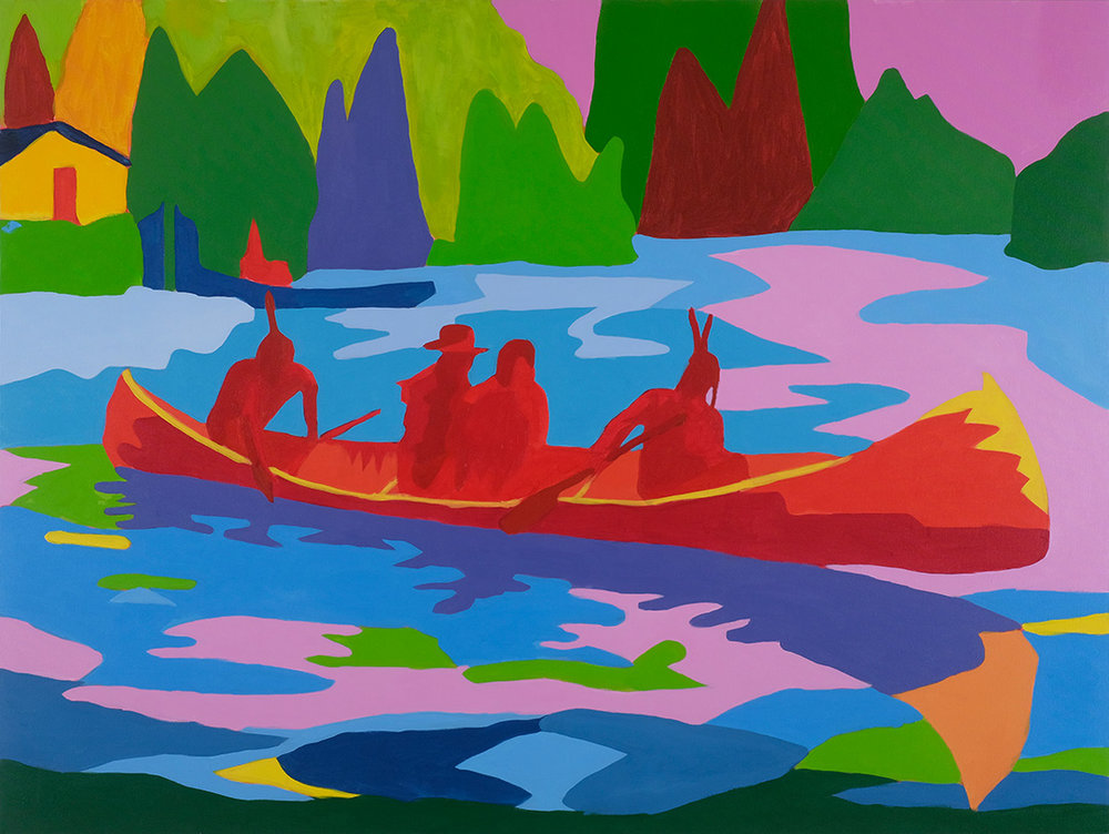 """RETURN TO SPIRIT RIVER or Meeting the In Laws as told by my Mother PART 3: THE CALL  36""""x48"""" Acrylic On Canvas"""
