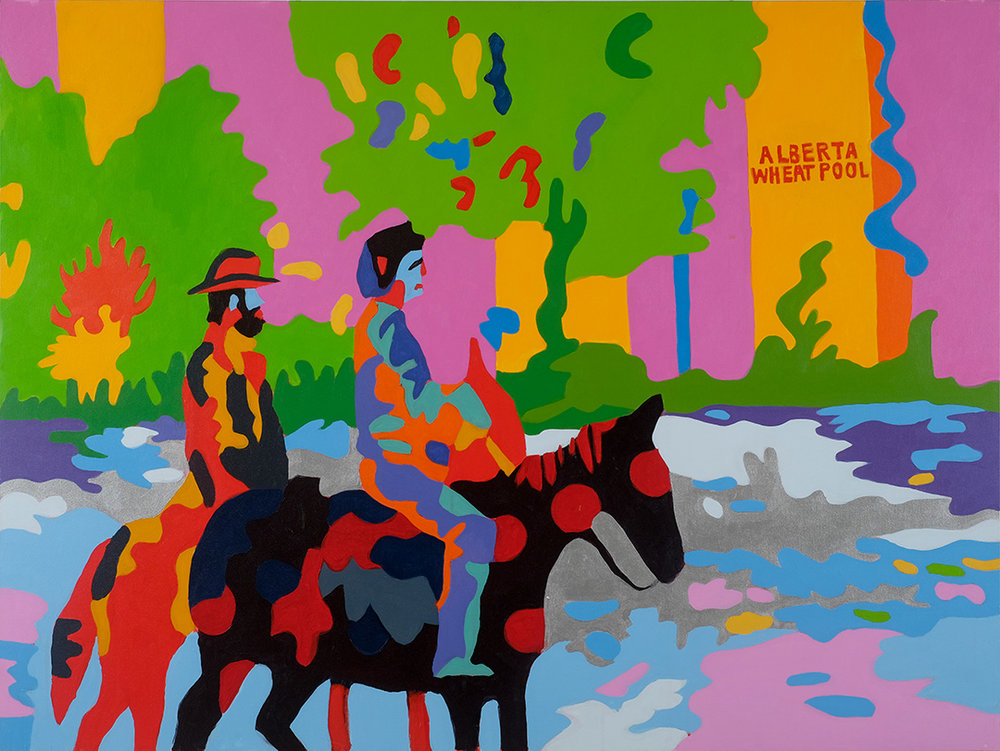"""RETURN TO SPIRIT RIVER or Meeting the In Laws as told by my Mother PART 2: THE DRIVE  36""""x48""""Acrylic On Canvas"""